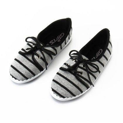 Shos With Stripe And Lace- Black - Gift Shoes