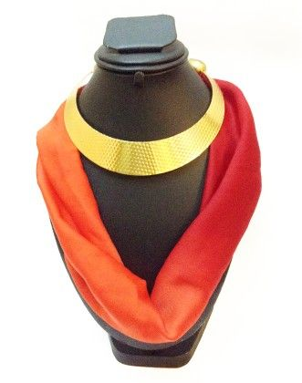 Satin Georgette Shaded Red Necklace Scarf - Lime