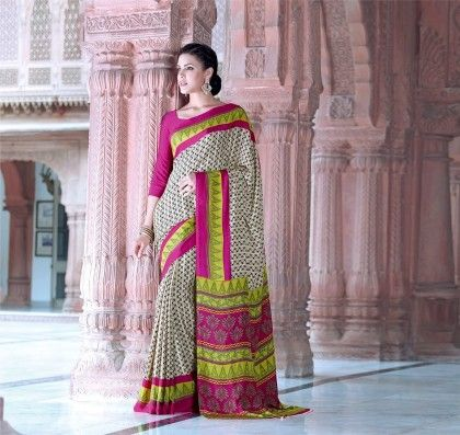 Chevron Printed Saree - Fashion Fiesta
