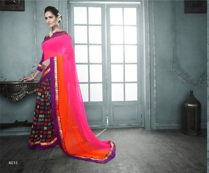 Multi Colour All Over Printed Saree - Fashion Fiesta