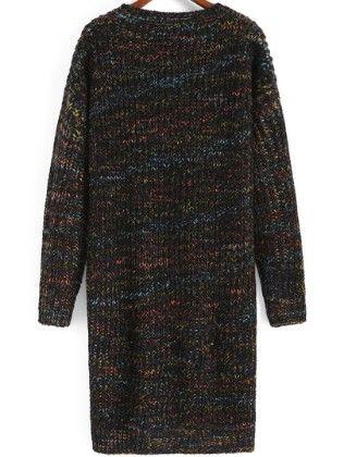 Black Round Neck Dip Hem Sweater Dress - She In