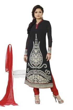 Black Embroideried Dress Material - Touch Trends Ethnic - 190013