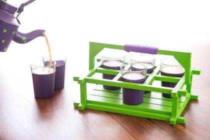 Poppadumart Chai Glasses - Purple And Green