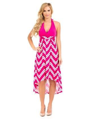 Hi-lo Halter Maxi Dress-pink - Xcel Couture