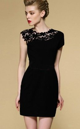 Black Sleeveless Contrast Lace Shoulder Dress - She In