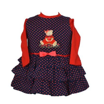 Navy Red Polka Dot With Teddy Applique Baby Frill Frock - Petals