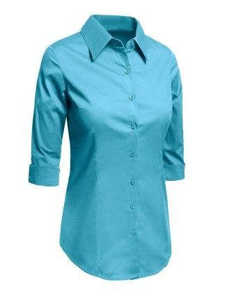 Roll Up 3/4 Sleeve Button Down Shirt With Stretch - Aqua - LE3NO