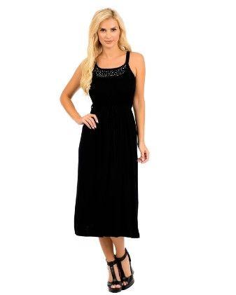 Embellished Sleeveless Maxi Dress - Beige - Xcel Couture
