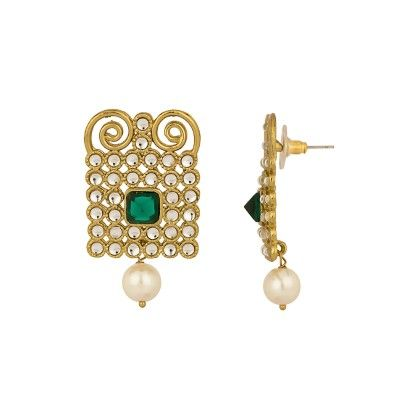 Voylla Kundan Studded Earrings With Gold Plating; Geomteric Design