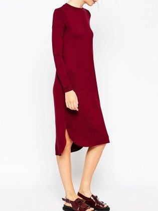 Red Round Neck Long Sleeve Slim Dress - She In