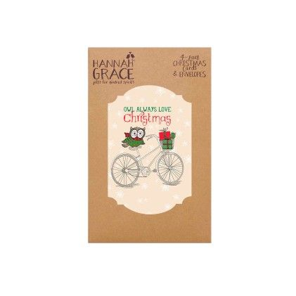 "4-pack Folio Style Christmas Cards & Envelopes ""owl Always Love Christmas"" - CR Gibson"