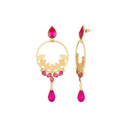 Voylla Gold Toned Danglers With Pink Droppings
