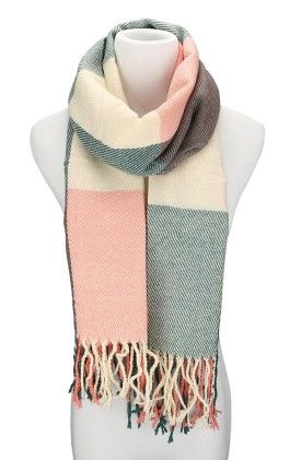 Fashion Large Lattice Long Shawl Big Grid Winter Warm Scarf - Pink Green - Spikerking