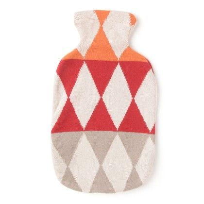 Flocons Knitted Hot Water Bottle Cover Red - Pluchi