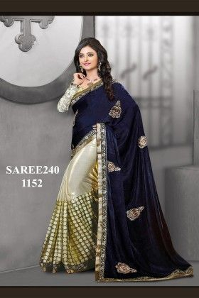 Royal Blue Designer Saree - Fashion Fiesta