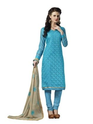 Sky Blue Embroideried Dress Material - Touch Trends Ethnic - 190023