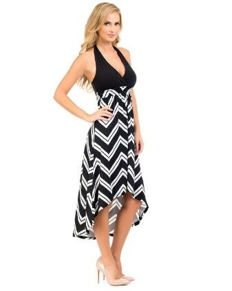 Hi-lo Halter Maxi Dress-black - Xcel Couture