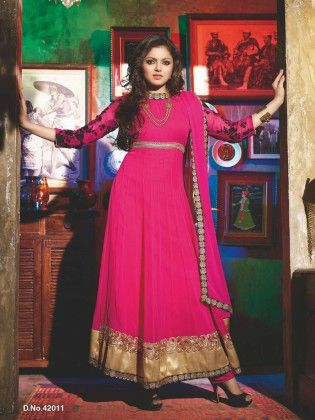Magenta Embroideried Dress Material - Touch Trends Ethnic - 190009