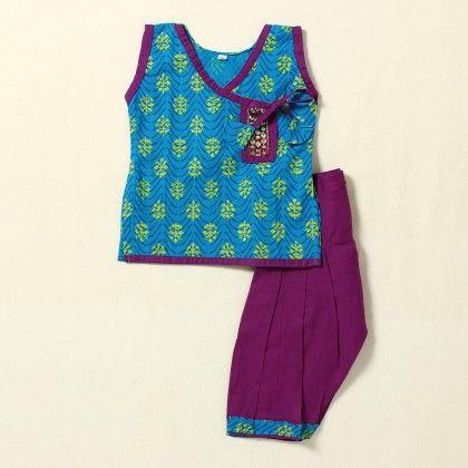Girls Suit Printed(blue-purple) - Pocket Fashion