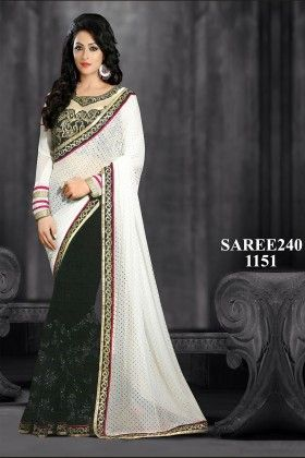 White And Black Designer Saree - Fashion Fiesta