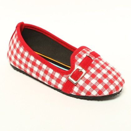 Red And White Checks With Buckle - Gift Shoes