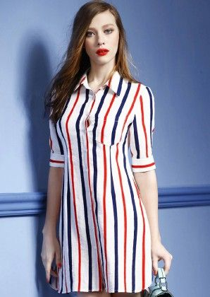 Red Blue Collars Half Sleeve Vertical Stripe Shirt Dress - She In