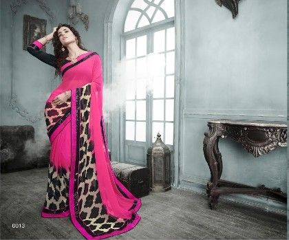 Pink Printed Saree - Fashion Fiesta