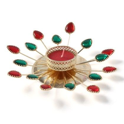 Ethnic Colourful Red & Green Stone Lotus Candle Stand - Sugar Candy