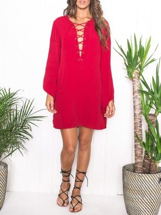 Lacing Lace Up Dress -red - She In