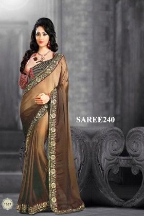 Brown Designer Saree - Fashion Fiesta