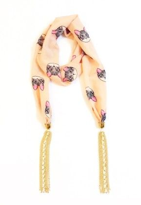 Crepe Kitty Print Peach Jewelled Scarf - Lime