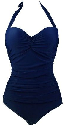 Retro Vintage One Piece Pin Up Monokinis Swimsuit - Blue - COCOSHIP