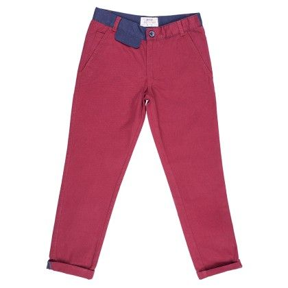 Colored Chinos Full Length With Contrast Waistband And Flap - Maroon - Nauti Nati