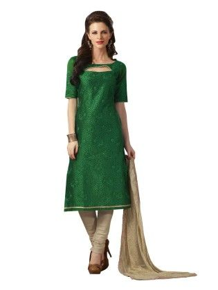 Bottle Green Embroideried Dress Material - Touch Trends Ethnic