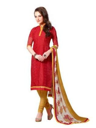 Embroidered Dress With Printed Dupatta - Red - Touch Trends Ethnic