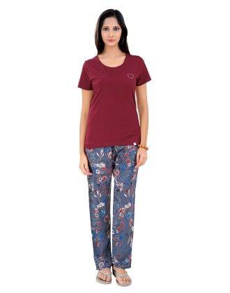 Maroon Solid Top With Printed Full Pyjama Set - Sheer Love