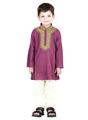 Embroidered Kurta Pyjama Set - Purple - BownBee