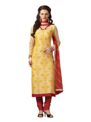Lemon Yellow Embroideried Dress Material - Touch Trends Ethnic