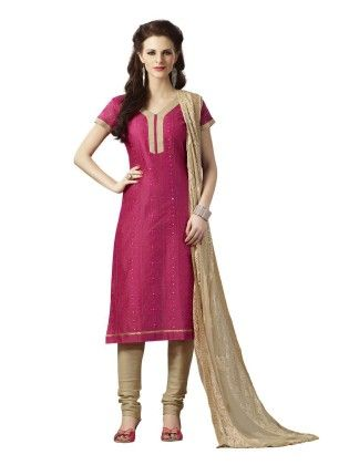 Magenta Embroideried Dress Material - Touch Trends Ethnic