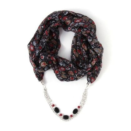 Printed Necklace With Scarf - Jazz Fashions