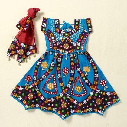 Girls Gujrati Lehenga Blue - Pocket Fashion