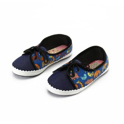 Shoes With Elephant Print And Lace-blue - Gift Shoes