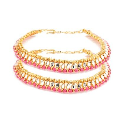 Voylla Traditional Pair Of Anklets Embellished With Pink Beads And Crystals