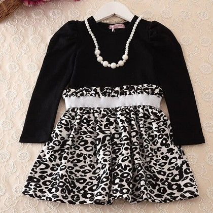 Black Leopard Print Winter Party Frock - Lil Mantra
