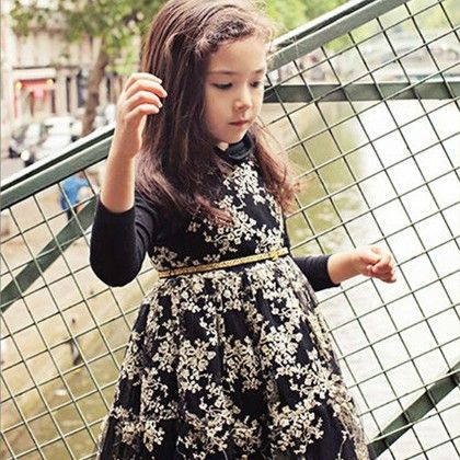 Black Winter Full Sleeves Party Frock - Lil Mantra