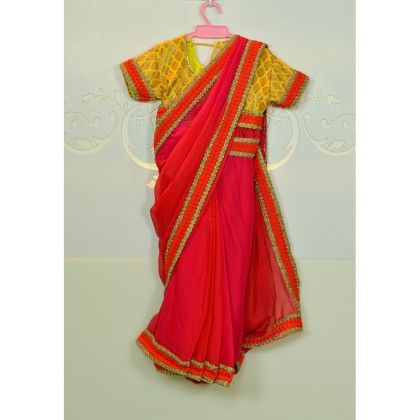 Red Saree With Yellow Blouse - Little Emporio ~ The Cutique