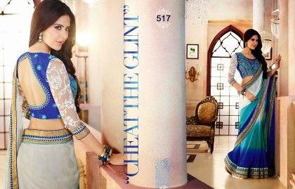 Shades Of Blue Designer Saree - Fashion Fiesta