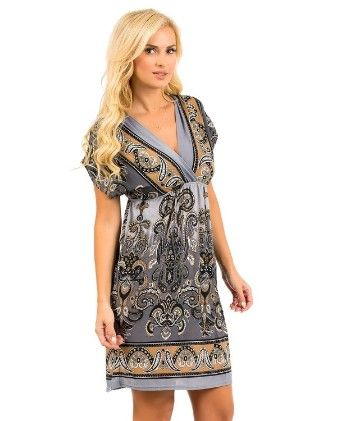Rays Printed Paisley Dress-charcoal - Xcel Couture