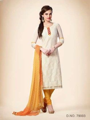 Embroidered Dress With Printed Yellow Dupatta - Off White - Touch Trends Ethnic