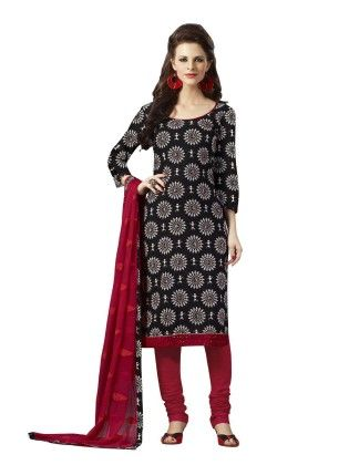 Black Embroideried Dress Material - Touch Trends Ethnic - 190027